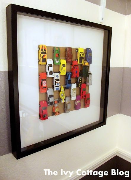 DIY Cheap and Easy Matchbox Car Wall Art Tutorial from The Ivy ...