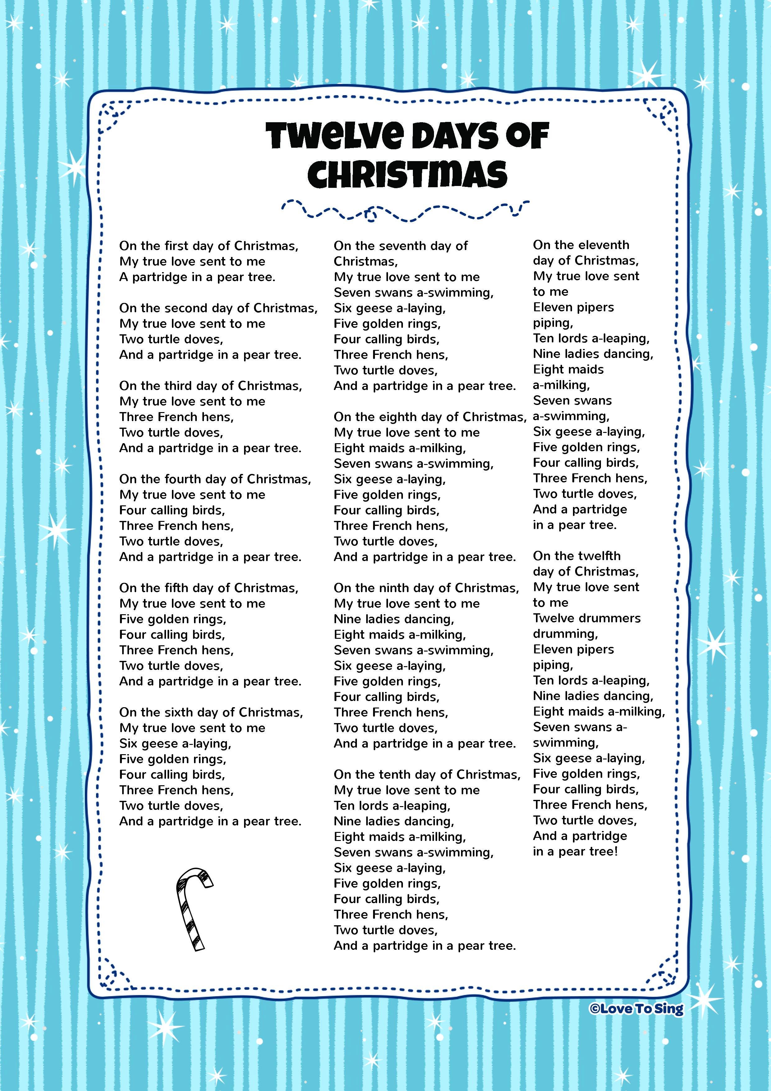 Twelve Days Of Christmas Kids Video Song With Free Lyrics Activities Christmas Songs Lyrics Christmas Lyrics Twelve Days Of Christmas [ 3508 x 2480 Pixel ]