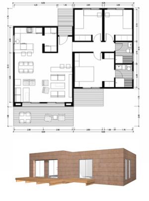 Planos casas de madera prefabricadas modelo 100m2 c for Casa minimalista 100m2