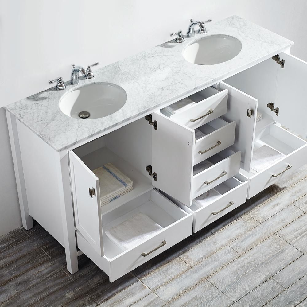 Roswell Gela 72 In W X 22 In D X 35 In H Vanity In White With