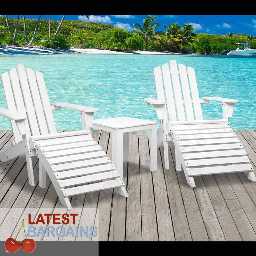 Outdoor Wooden Adirondack Table & Chairs Footstools Garden