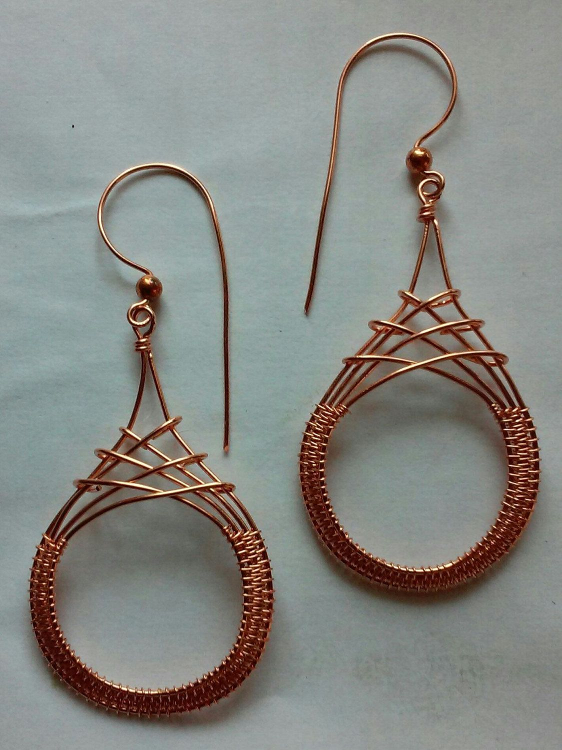 Criss Cross Earrings in Copper, Wire Wrapped Earrings, Wire Wrapped ...