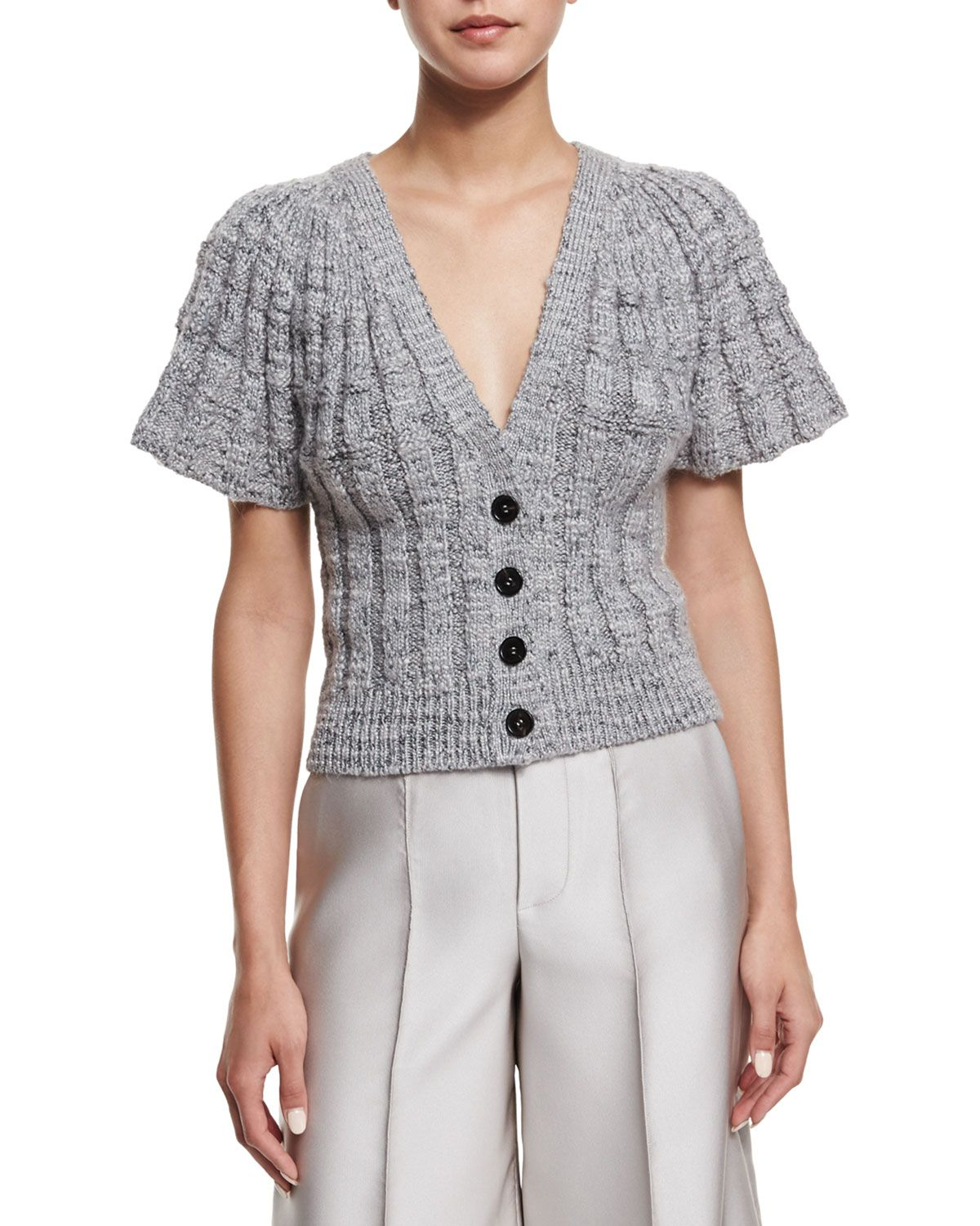 Flare-Sleeve Button-Front Short Cardigan, Silver - Co
