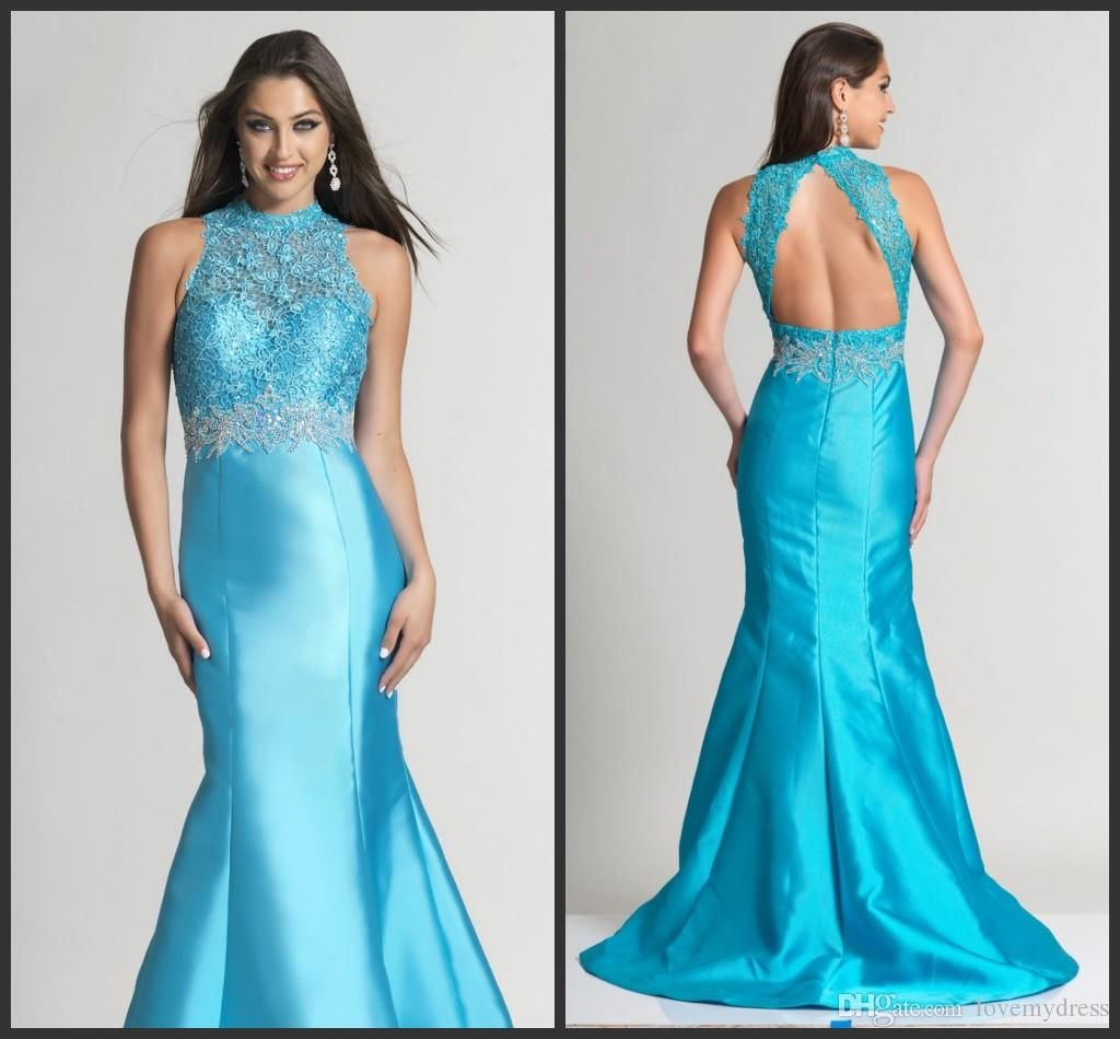 Beaded Collar Elegant Mermaid Prom Dresses Satin Lace Gown ...