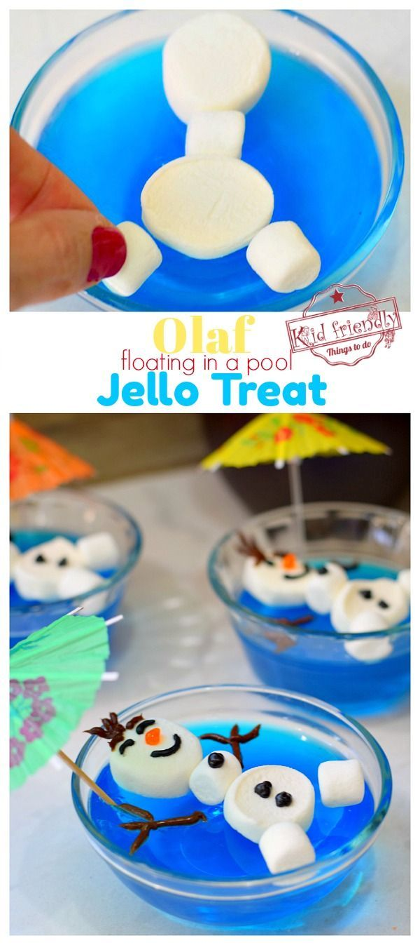 Olaf floating in a pool of blue jello  #easythingstocook