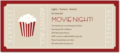 movie ticket party invitations eandi khaki neutral front