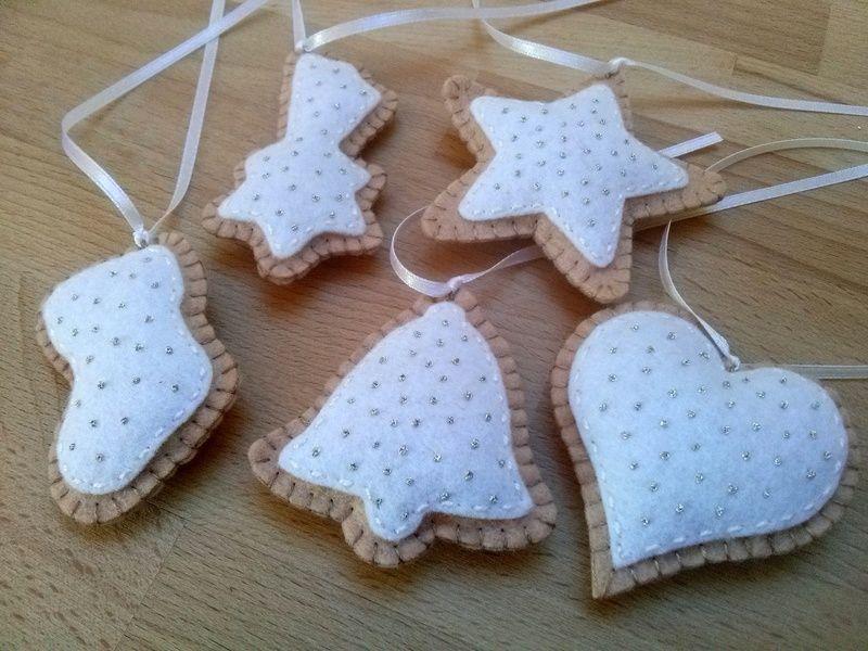 Filz-Weihnachten Ornamente - cookies set von 5 von DusiFeltShop auf DaWanda.com
