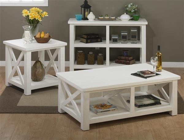 Madaket White Solid Wood Reclaimed Pine Coffee Table Set Tables - Pine coffee table set