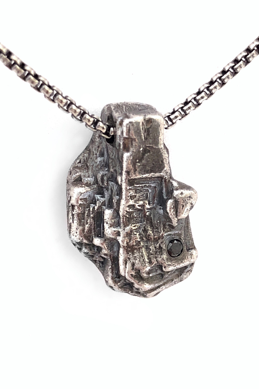 Oxidized silver rustic black diamond necklace bohemian artisan