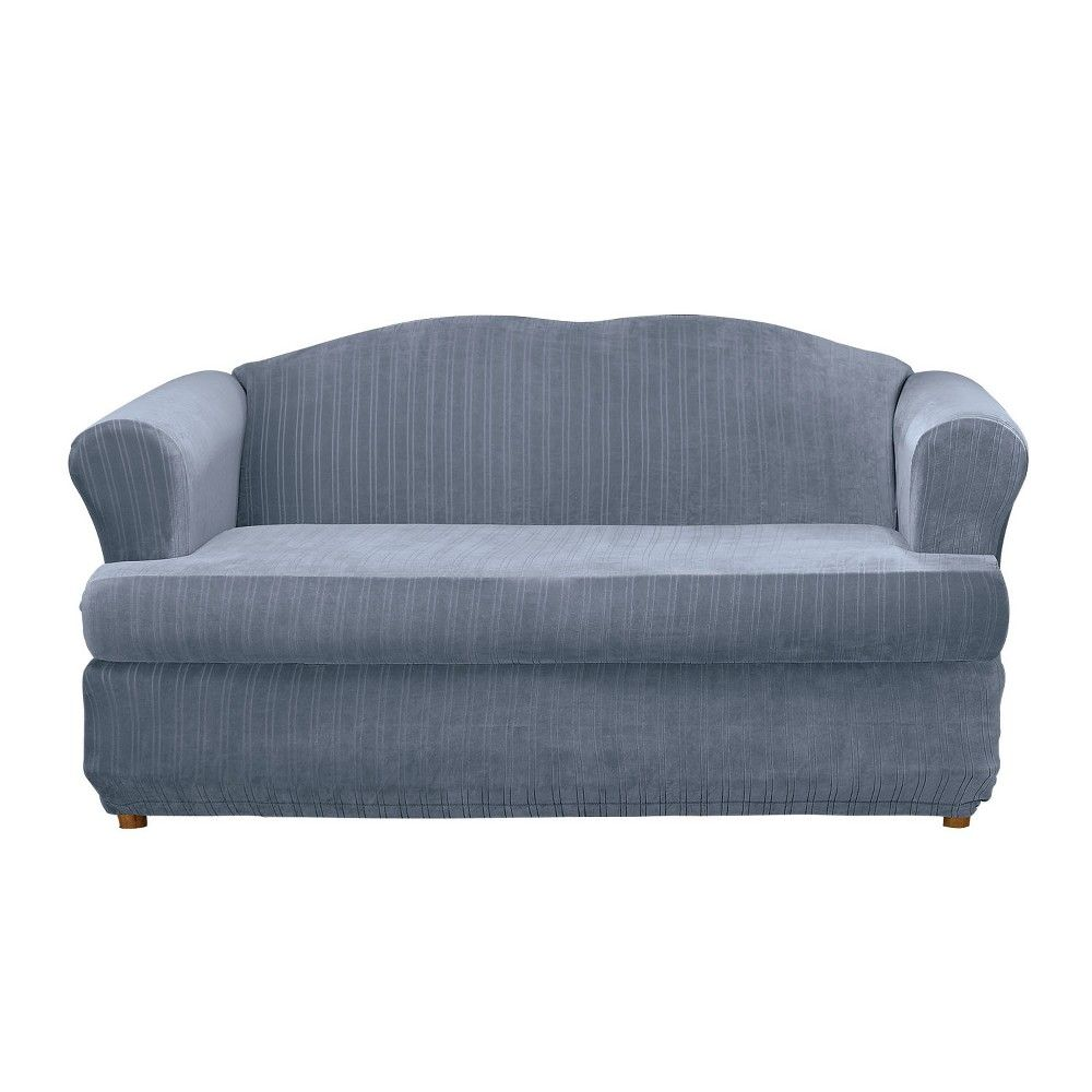 Stretch pinstripe tloveseat slipcover french blue sure