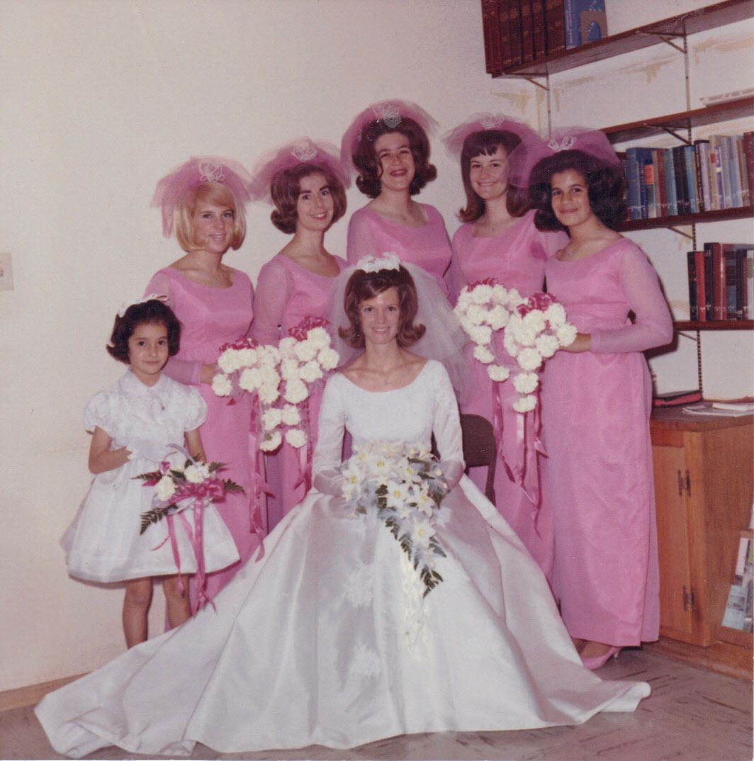 60s wedding 60 s vintage weddings and vintage group picture of a bride and her pink bridesmaids from the sixties 1960s vintage ombrellifo Images