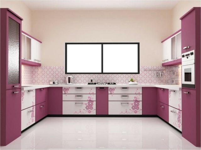 Rosa Küchenschränke Blumenmuster Aufkleber Dekoriert Küche
