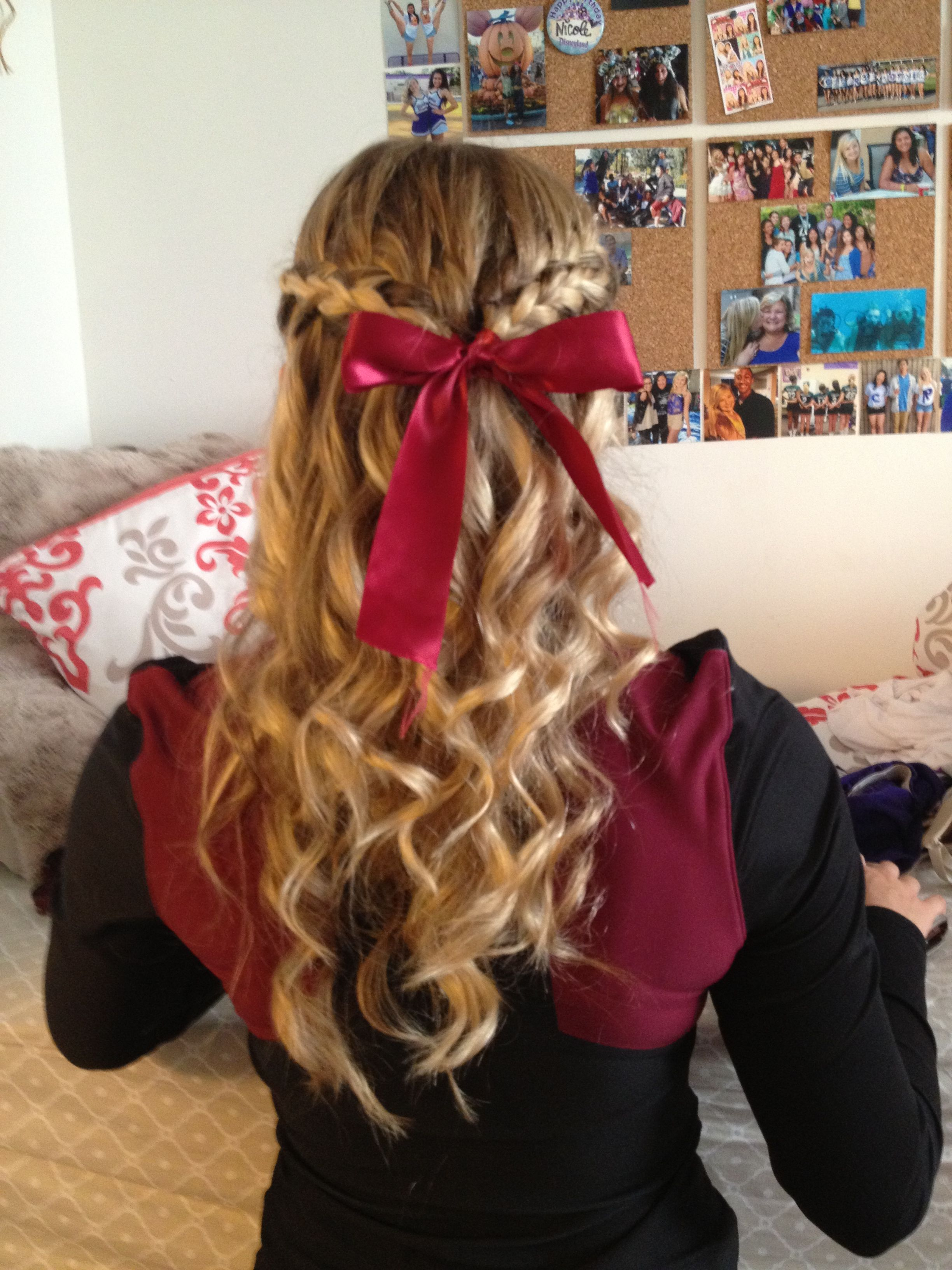 Pin By Nicole Martindale On Hair Bow Hairstyle Cheer Hair Cute Cheer Hairstyles