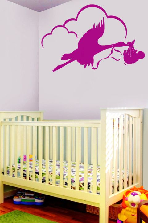 Baby and Stork wall decal by WALLTAT.com