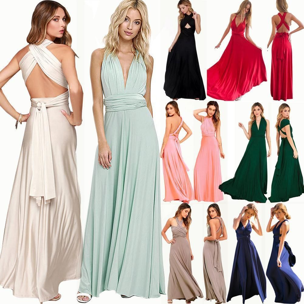 Women fashion evening convertible multi way wrap bridesmaid formal