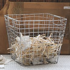Wire mesh storage rectangular basket wire mesh storage and laundry - West elm bathroom storage ...