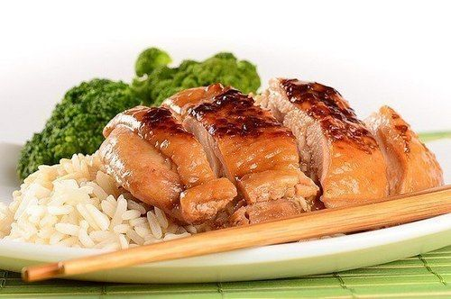 Chicken fillet with honey and soy sauce in Japanese