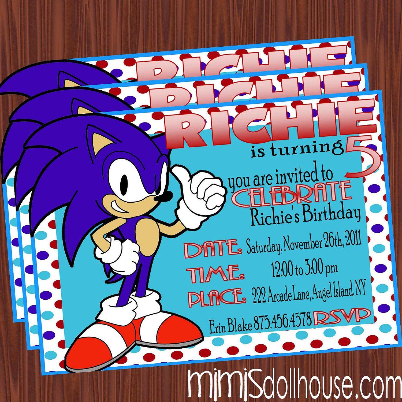 Sonic Invitation Cumpleaños De Sonic Fiesta De Sonic Y