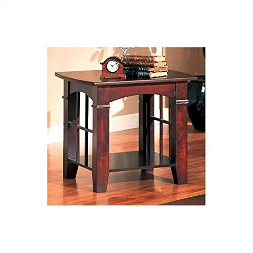 Coaster End Table, Cherry Finish