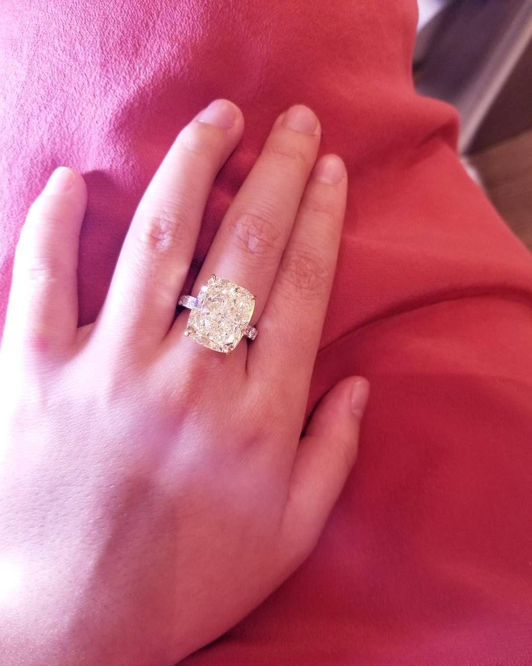 Yellow Diamond Radiant Cut Engagement Ring | Jangmi Jewelry | Pinterest