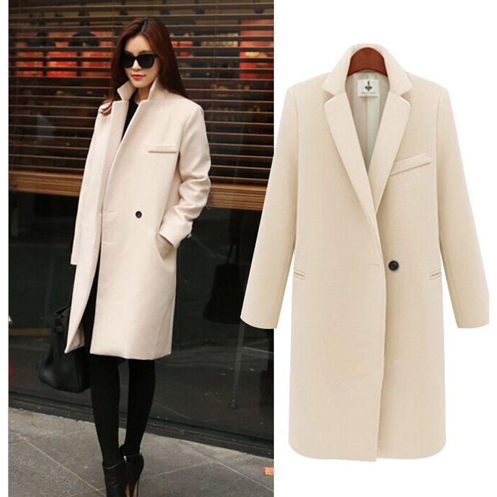Ladies long coats overcoat loose woolen winter warm cashmere lapel jacket Women