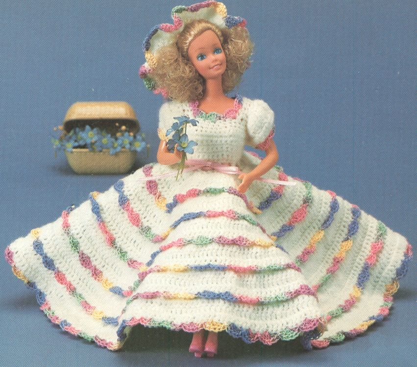 Vintage Barbie Southern Belle Dress And Hat Crochet