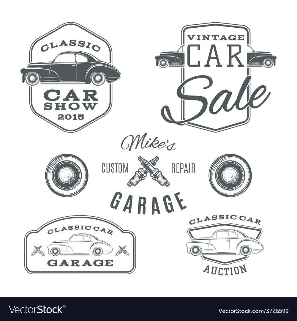 Set of vintage classic car services labels Vector Image , #affiliate, #classic, …