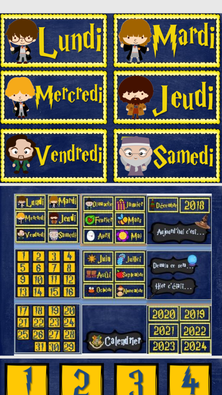 Calendrier 2021 2022 Classe Harry Potter INSPIRED Classroom Calendar in French by Tocafrances