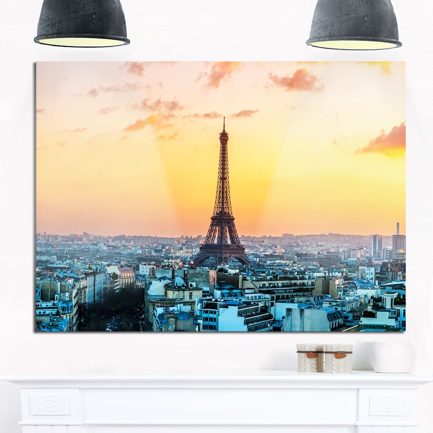 Eiffel at Sunrise in Paris - Cityscape Photography Glossy Metal Wall ...