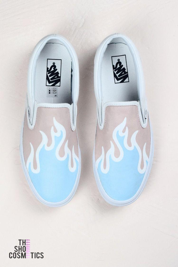 Blue fire Vans slip on custom sneakers