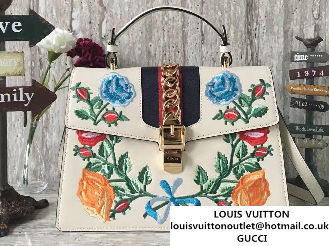 1df54865eff Gucci Sylvie Leather Embroidered Flowers Top Handle Medium Bag 431665 White  2017