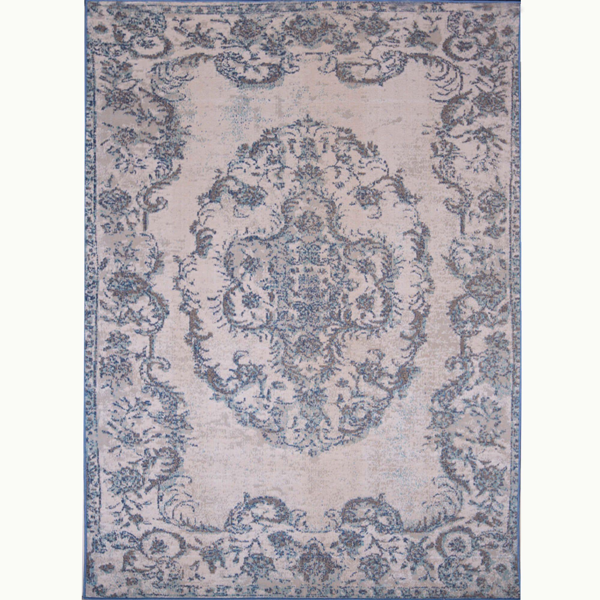 Somerset Blue-Ivory Traditional Indoor/Outdoor Area Rug