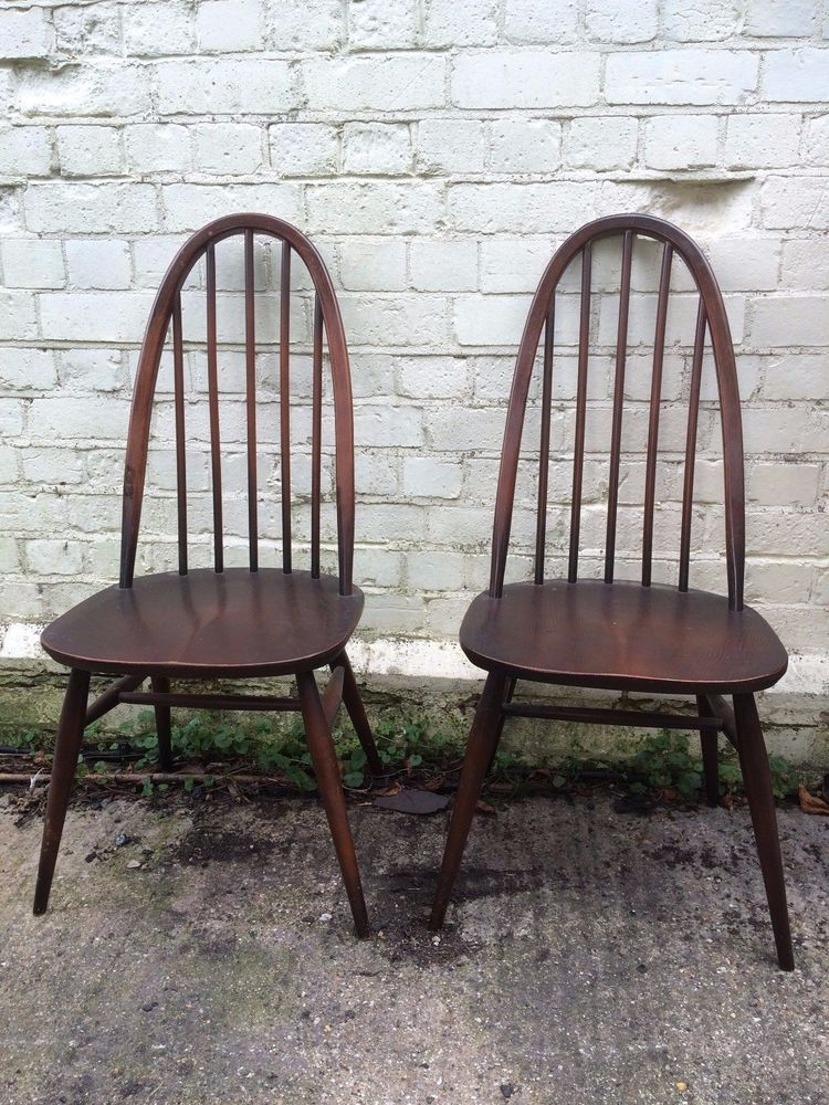 RELISTED Vintage 1960s Ercol Quaker Dining Chairs Mid Century Beech Elm  Wood 6 Available