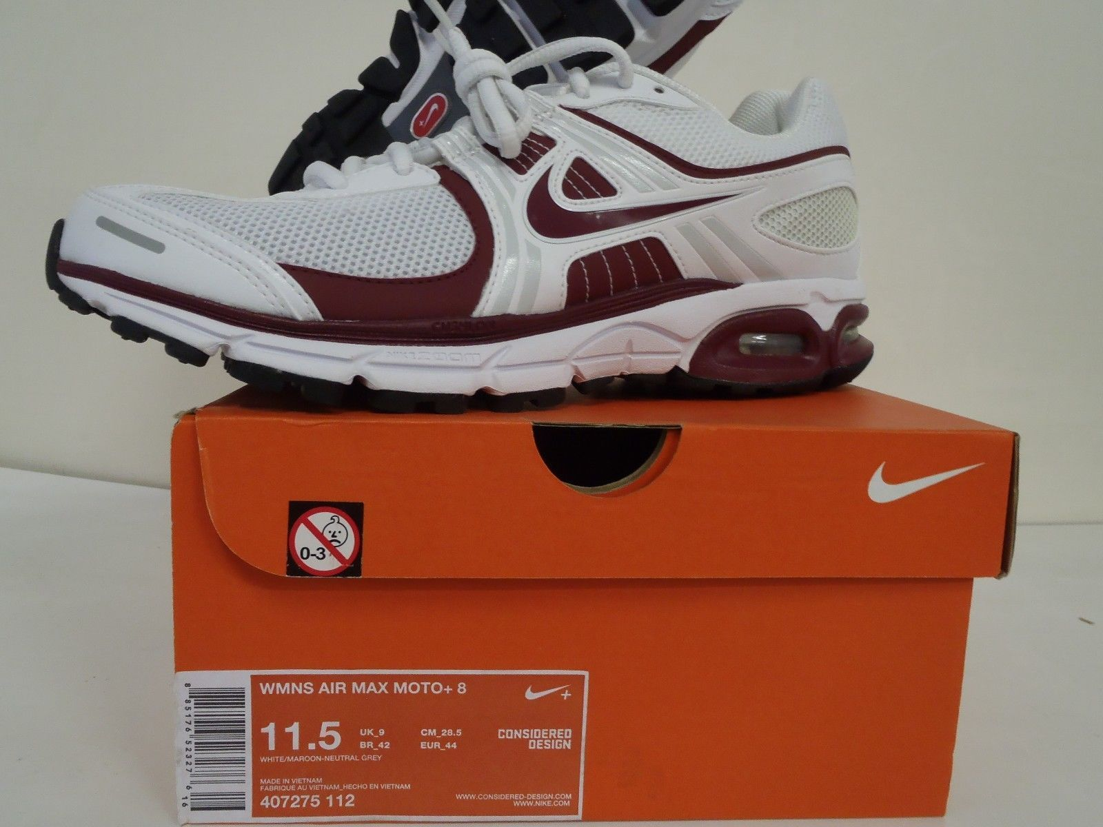 huge selection of 00449 0caff ... Womens Nike Air Max Moto+ 8 Wht Mrn 407275-112 New Wmns Sz 11.5 ...
