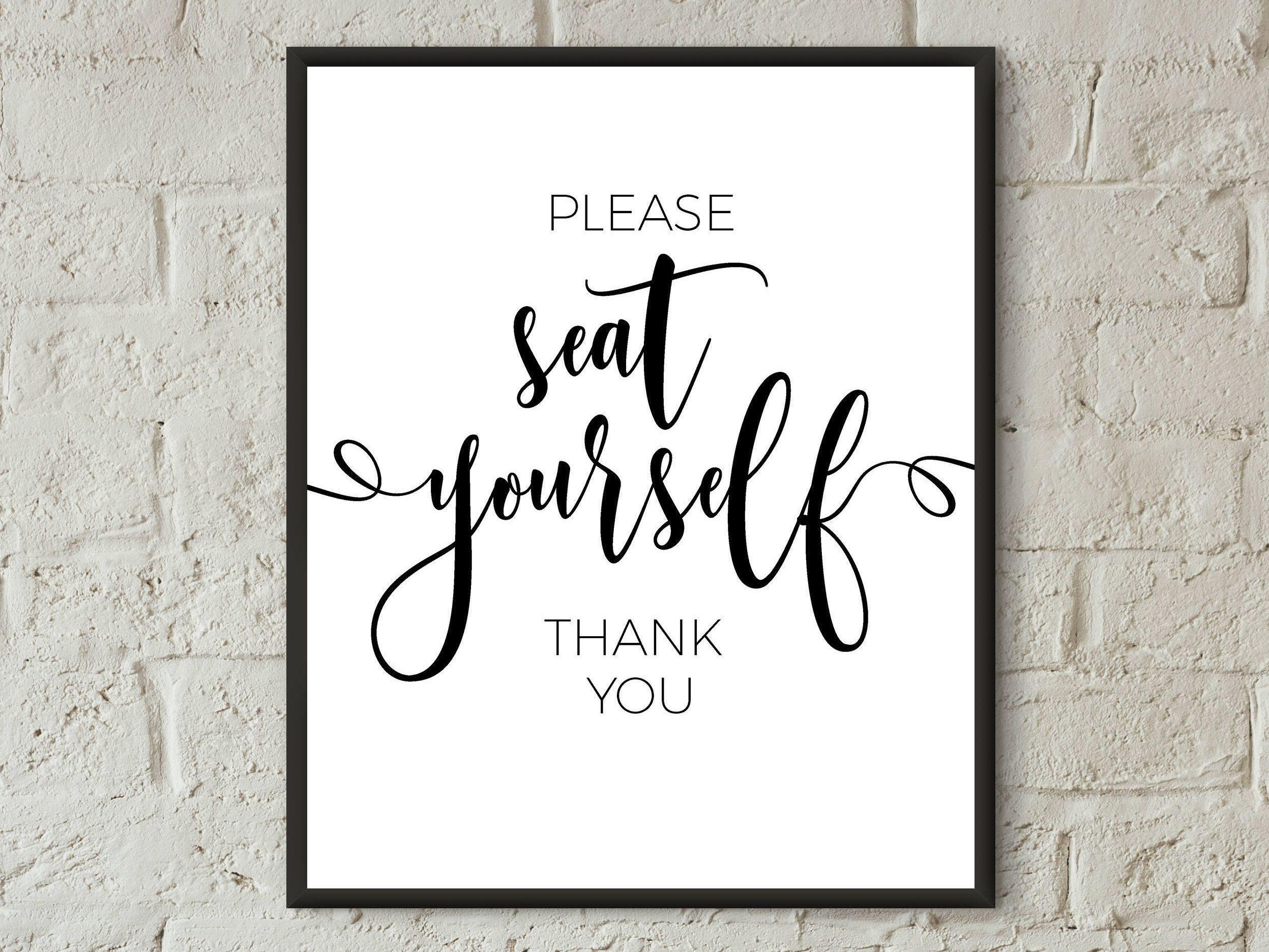 printable bathroom sign. Seat Yourself Bathroom Sign Printable Wall Art Please Funny Quotes Decor Washroom
