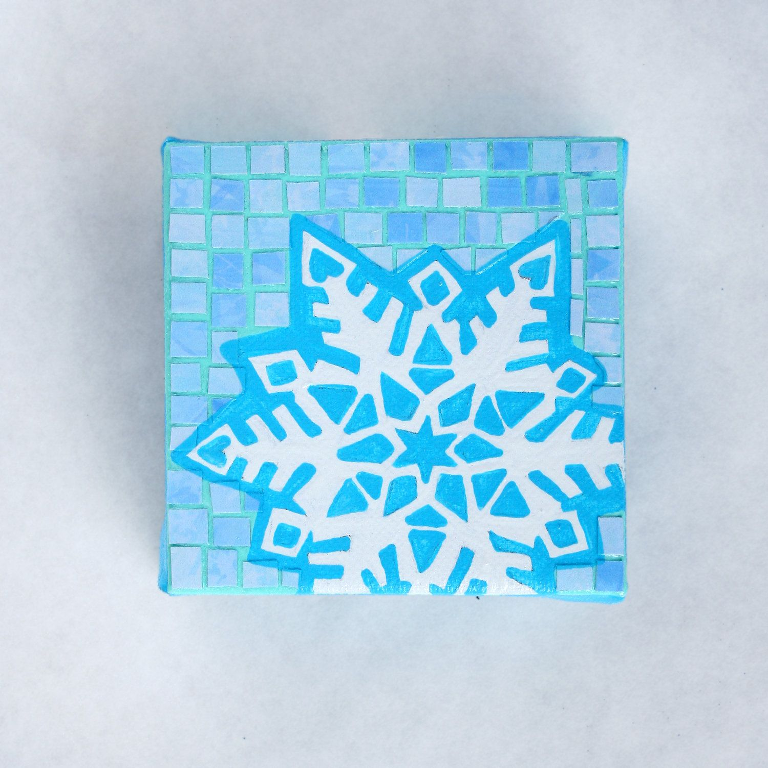 Blue Snowflake Recycled Paper Mixed Media Mosaic Art Blue
