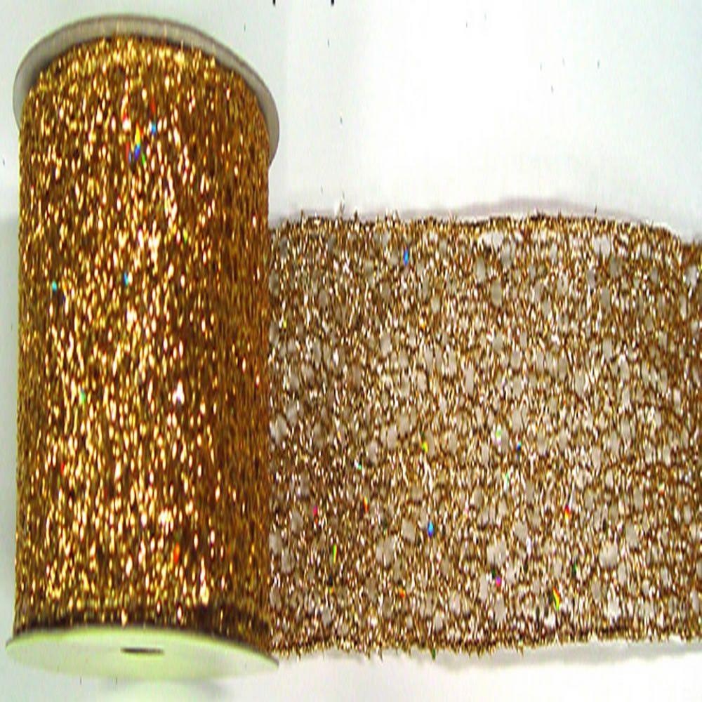 """2.5"""""""" x 10yd Gold Glitter Mesh Ribbon"""