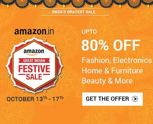 India's greatest sale – This Diwali, Enjoy the great Indian festive sale deals and discounts online on Amazon India. Here you can avail higher discounts on mobiles, apparels, footwear, jewellery, accessories, furniture and home décor, electronics and more during the Great Indian Festive Sale on Amazon India.