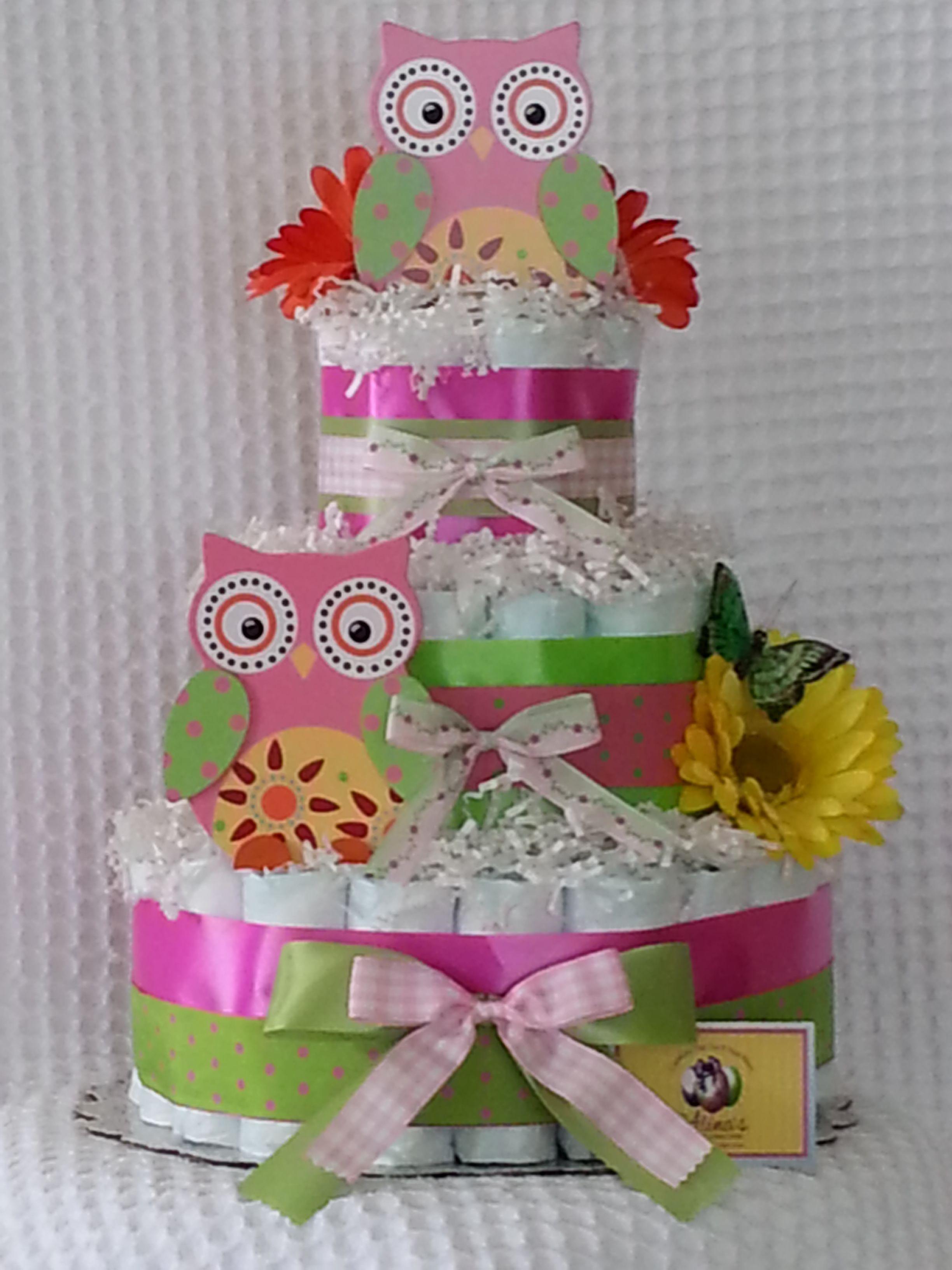 Hoot hoot girl owl diaper cake 3 tier rolled style heymeone hoot hoot girl owl diaper cake 3 tier rolled style heymeone baditri Gallery