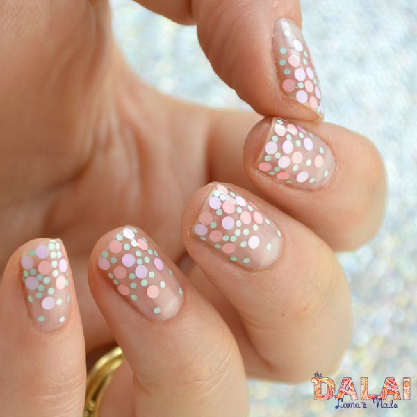 Gel glitter dots the dalai lamas nails glitter placement dot nail art prinsesfo Images