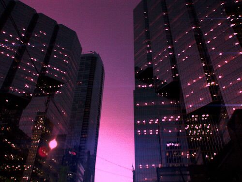 Night Time Aesthetic City Lights City Landscape Illustration