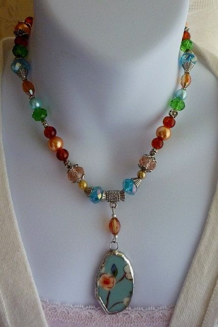 Broken China JewelryBeaded Crystal and Glass Pearl by DLTrinkets, $45.00