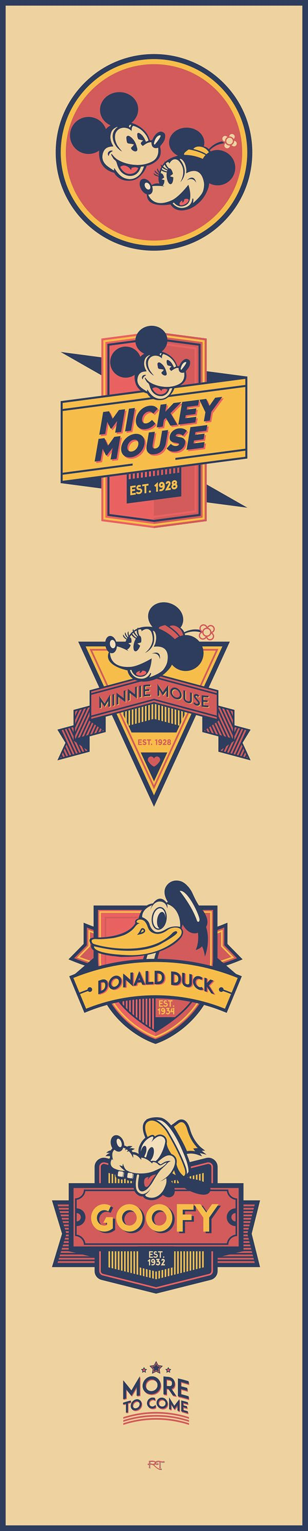 Personal Project Branding Disney Characters With Their Own Vintage Style Logo Enjoy And Share