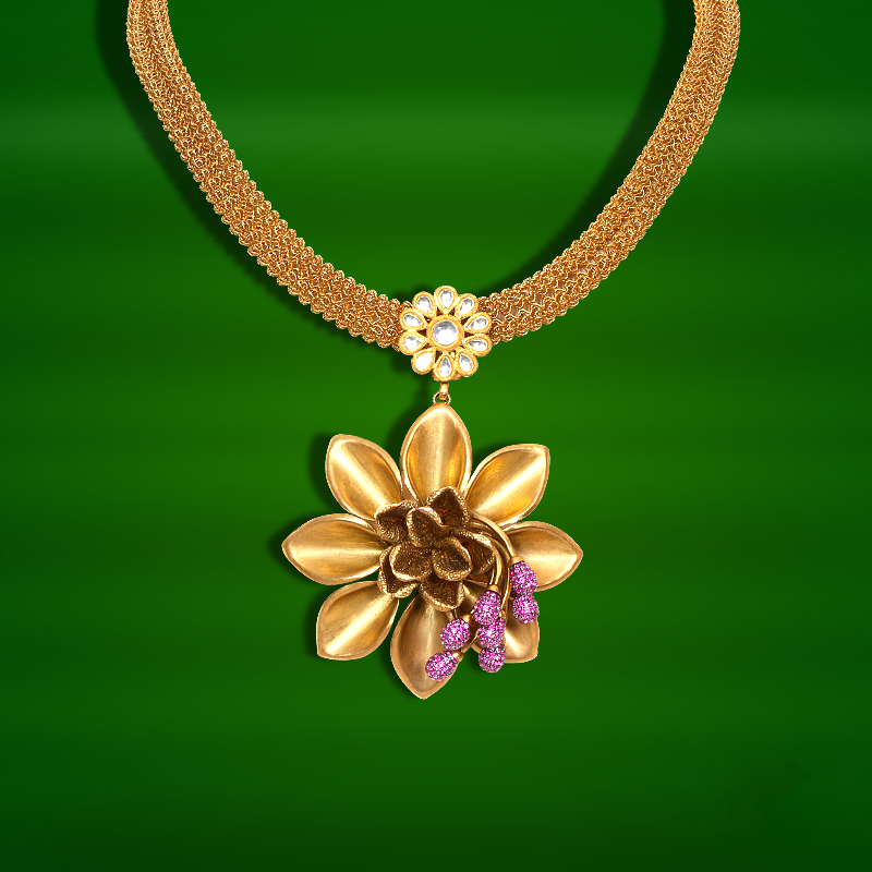 Light Weight Gold Necklace From GRT | Necklace designs, Gold ...