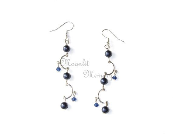 Asymmetric Dangle Earrings in Dark Blue Swarovski crystals. Silver and navy jewelry made in the USA. Original design by MoonlitMemory on Etsy.