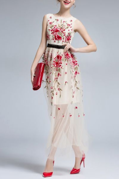 2c92f4b157b2f9 Daianxi Apricot Floral Embroidery Sleeveless Voile Maxi Dress