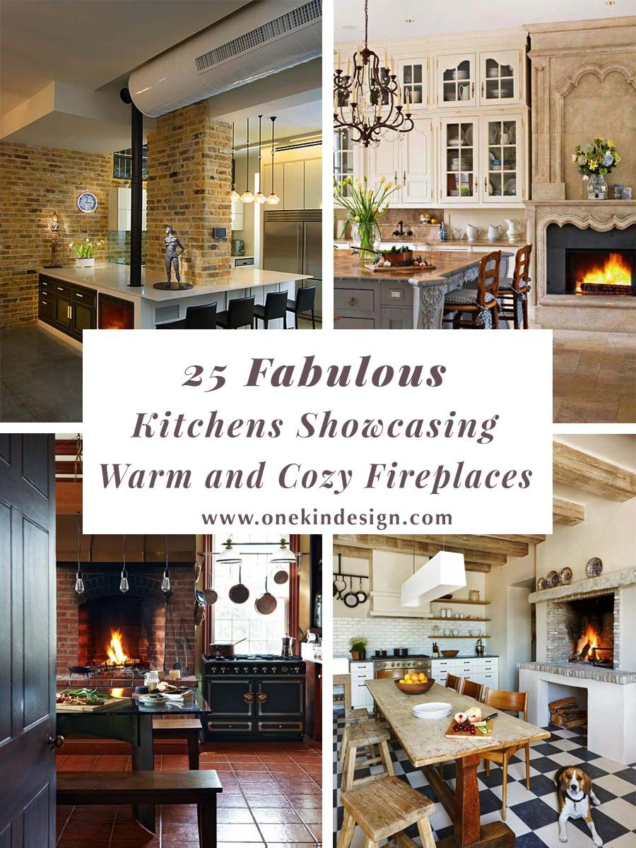 25 Fabulous Kitchens Showcasing Warm And Cozy Fireplaces Kitchen