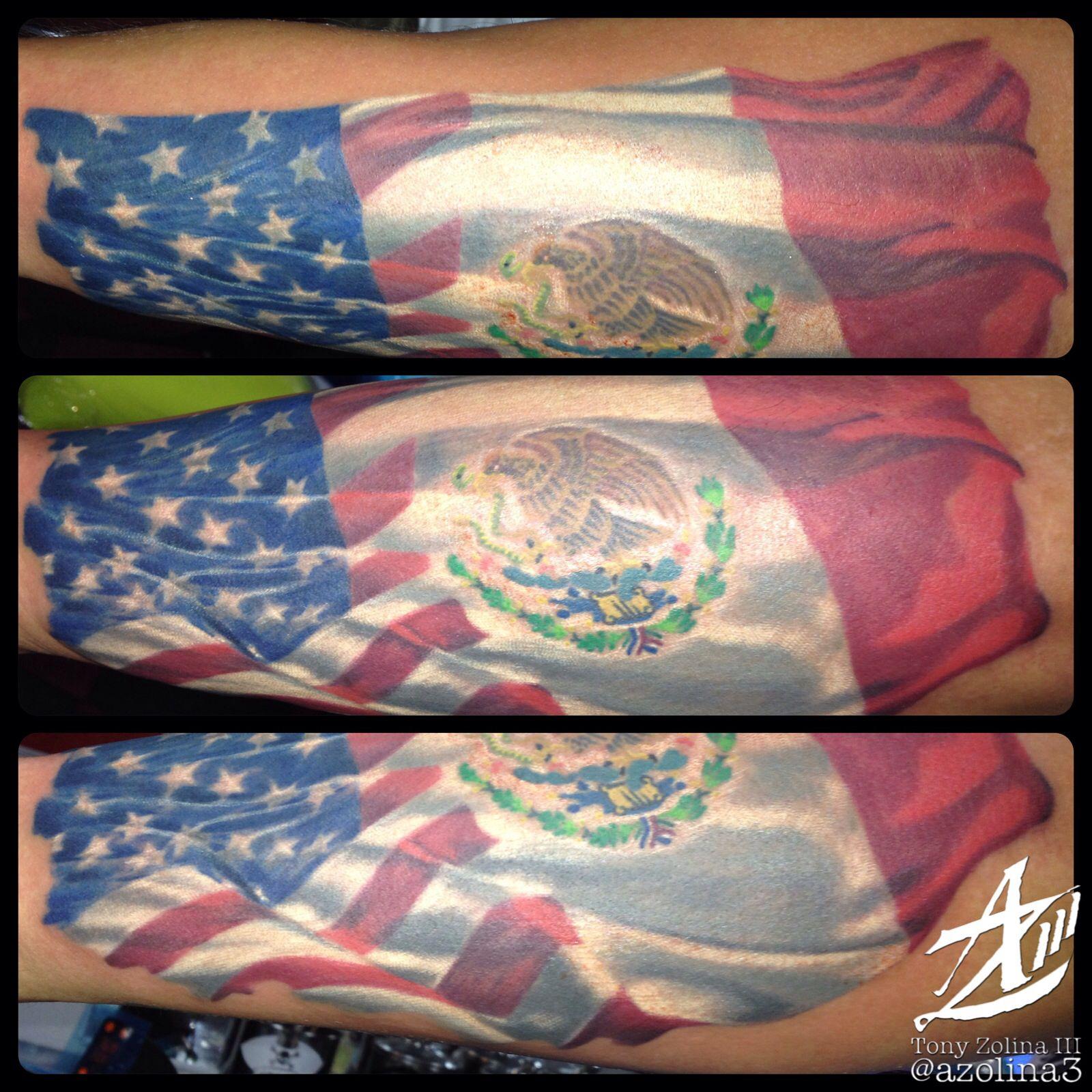 American/Mexican flag on forearm | Aquanaut Tattoo ...