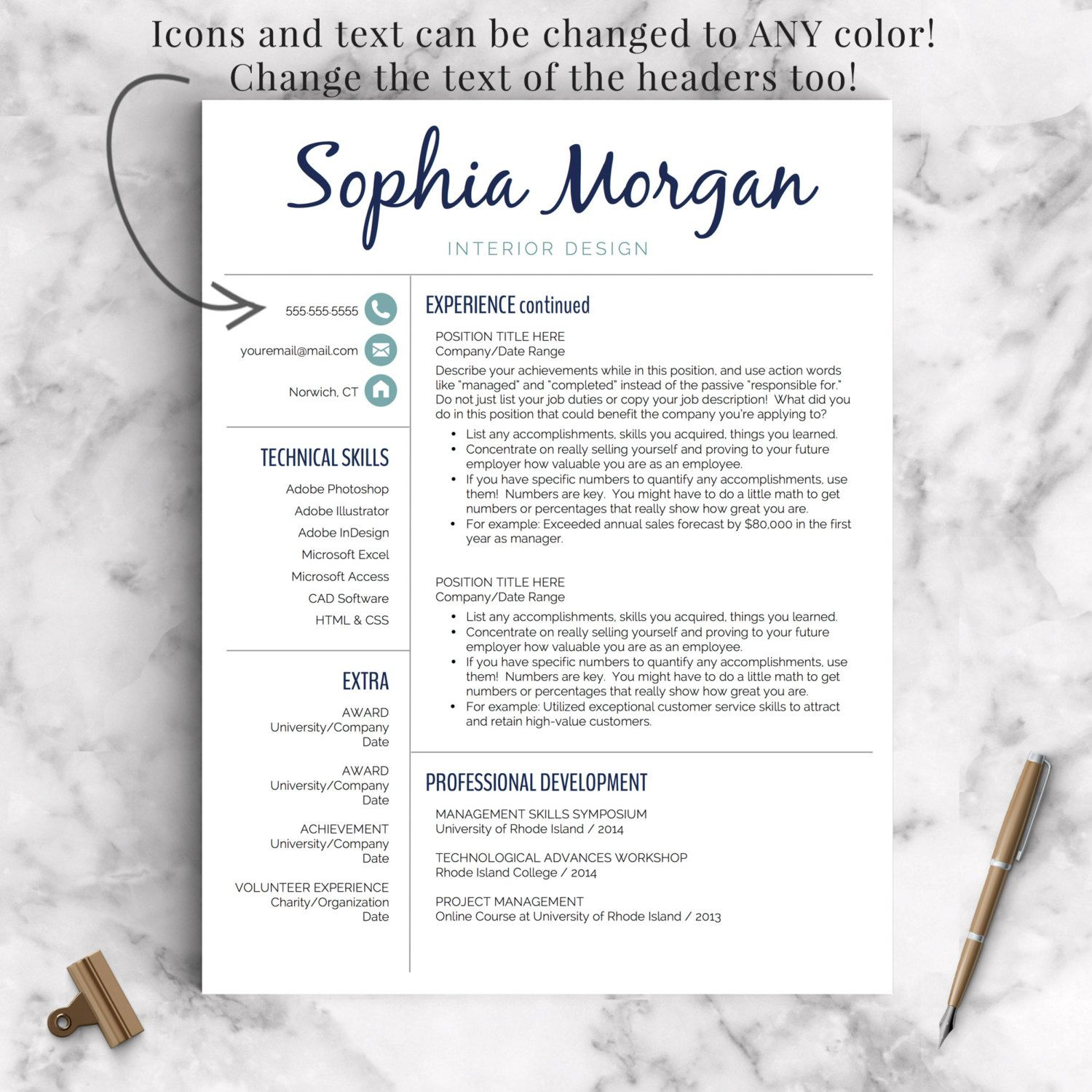 Creative Resume Template for Word and Pages: The Sophia - Instant ...