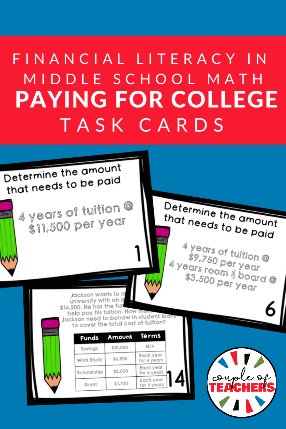 Financial Literacy Paying For College Task Cards In 2020 Middle School Math Review Maths Activities Middle School Middle School Math